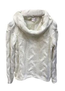 Памучен бял пуловер