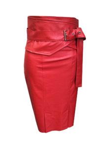 Кожена червена пола
